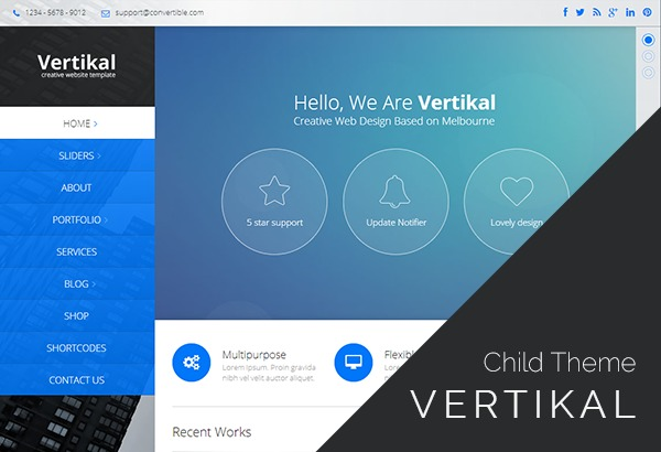 Vertikal Child Theme WordPress template for business