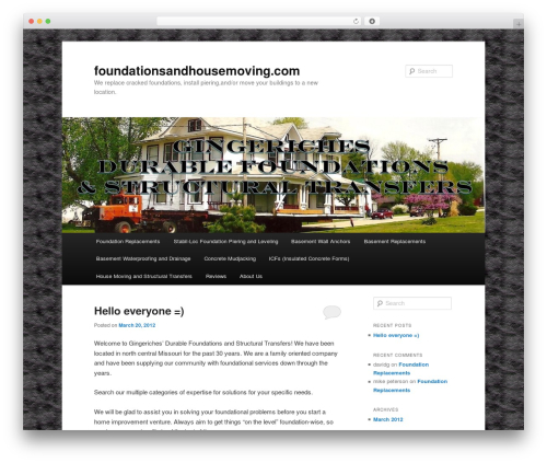 WordPress theme Twenty Eleven - foundationsandhousemoving.com
