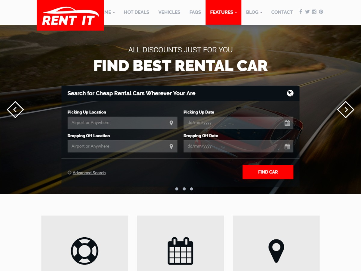 RentIt chald automotive WordPress theme