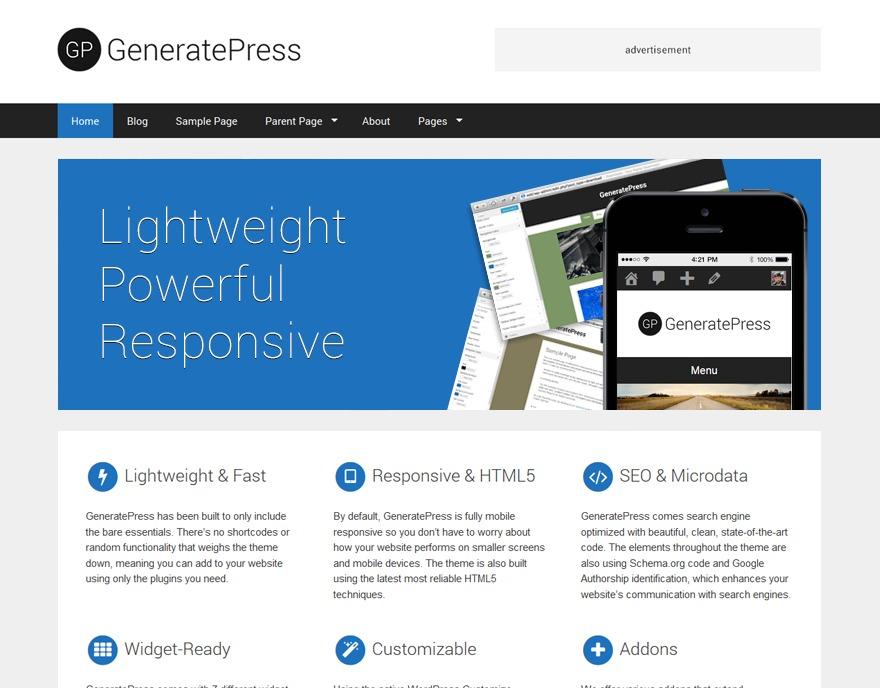 Theme WordPress GeneratePress