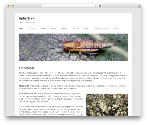 Twenty Twelve free WordPress theme - aphidtrek.org