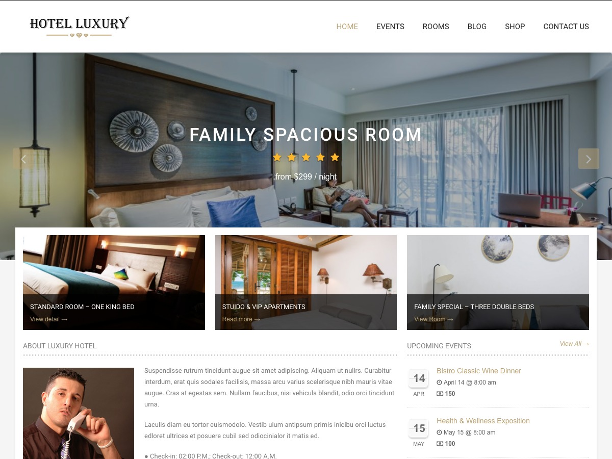 Hotel Luxury WordPress template for business