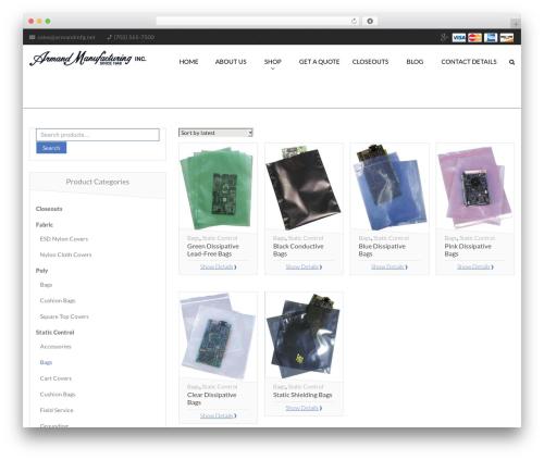 Desirable WP theme - armandmfg.com/product-category/static-control/bags