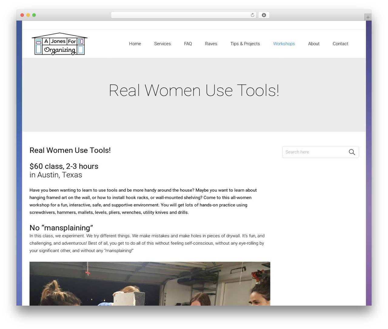 Satellite7 best WordPress theme - ajonesfororganizing.com/real-women-use-tools