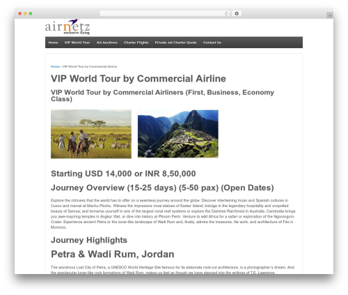 Theme WordPress Responsive - airnetz.com/vip-world-tour-by-commercial-airline