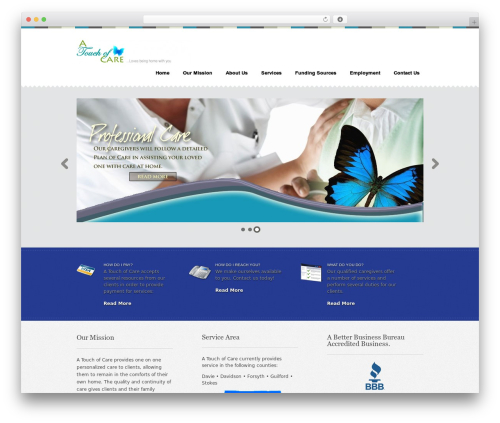 Swatch WordPress page template - atouchofcare.net