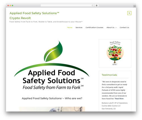 WP theme Nature Bliss - appliedfoodsafetysolutions.com
