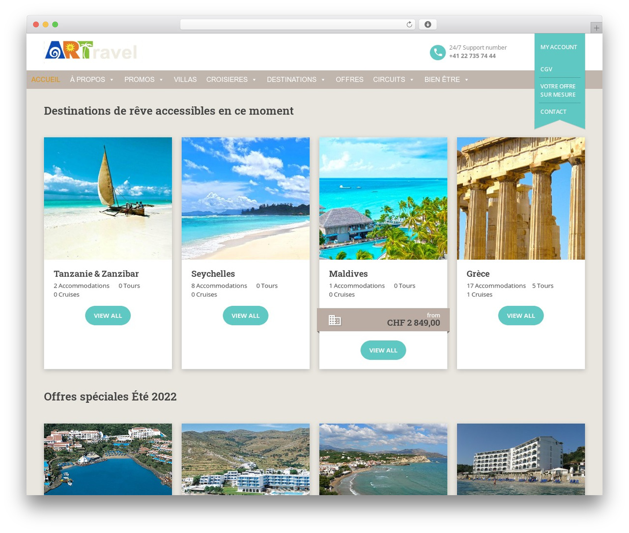 BookYourTravel WordPress travel theme - artravel.ch