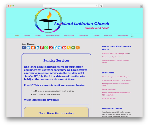 WP theme Twenty Thirteen - aucklandunitarian.org.nz