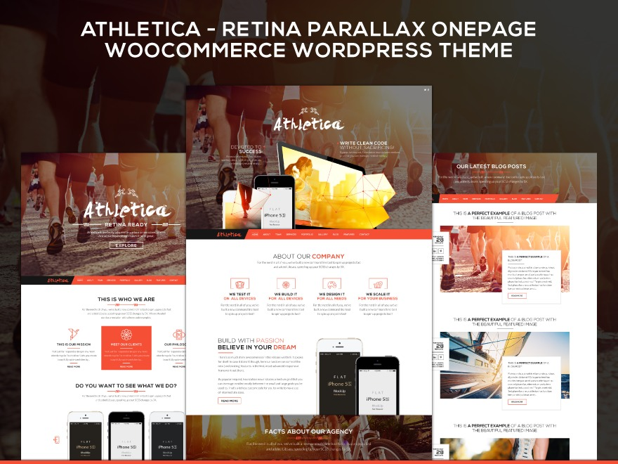 Athletica | Retina Parallax OnePage WP Template business WordPress theme