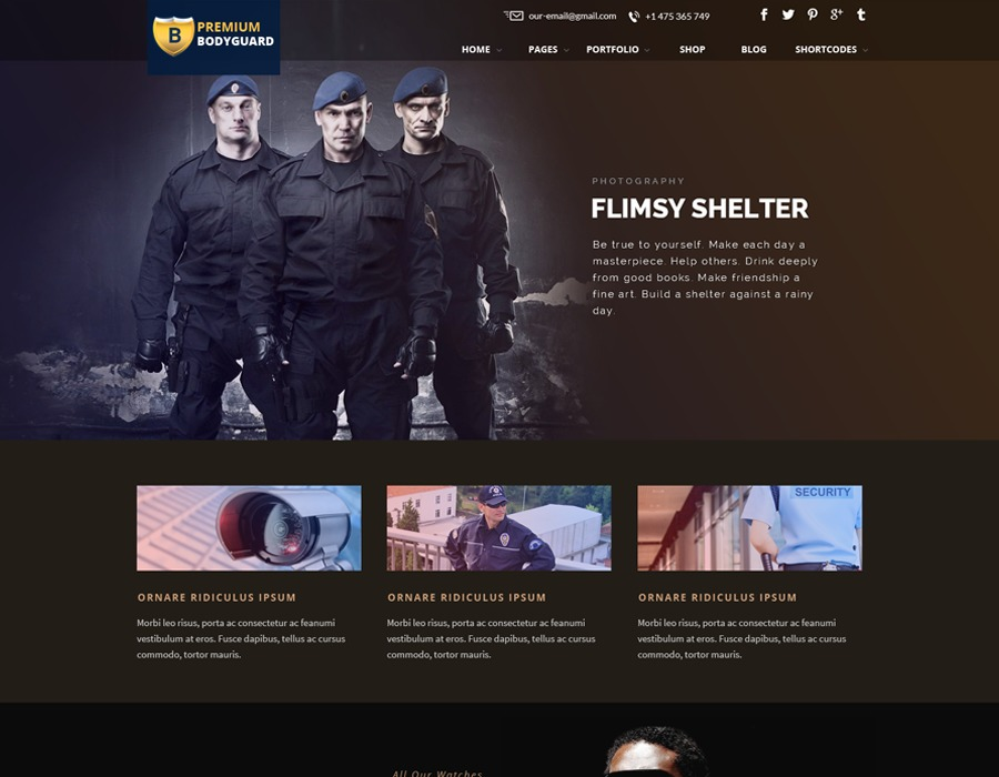 Bodyguard business WordPress theme