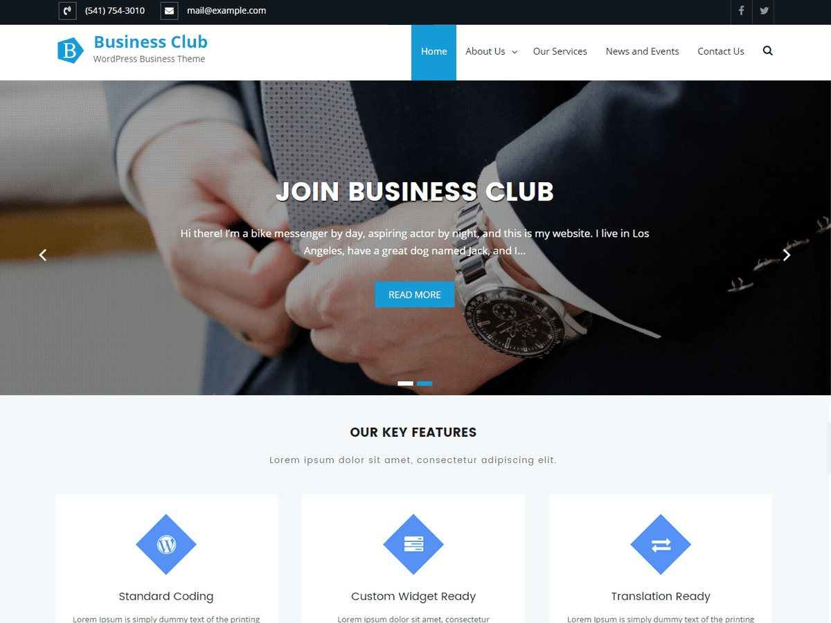 Business Club theme free download