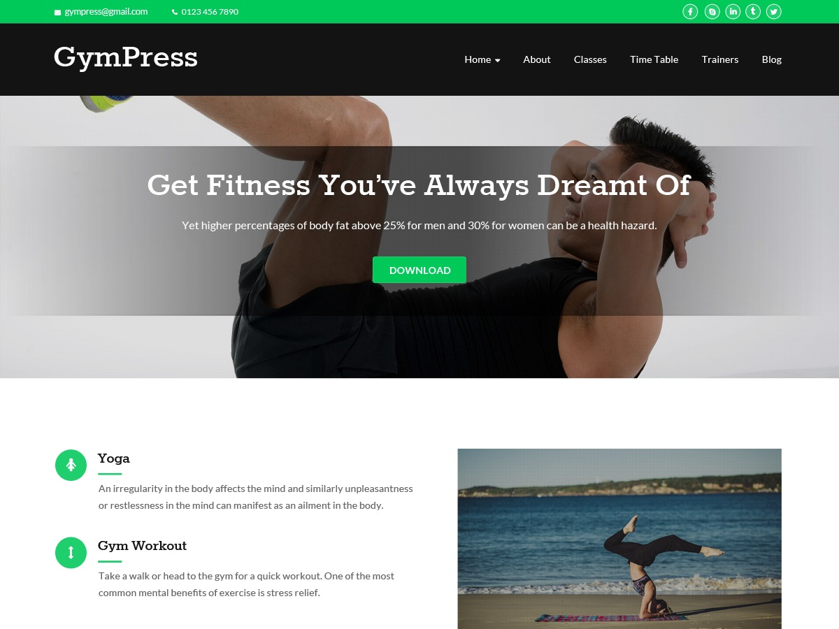 GymPress free WordPress theme