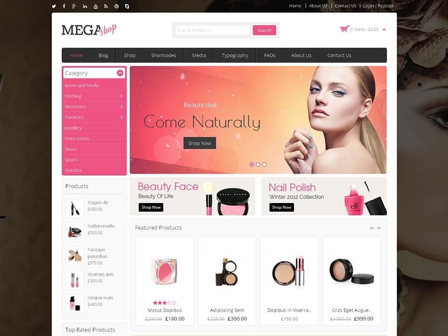 MegaShop Child Cosmetic WordPress store theme