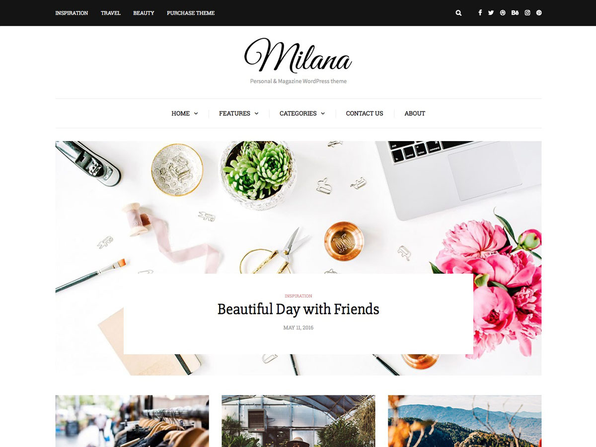 Milana WordPress blog template