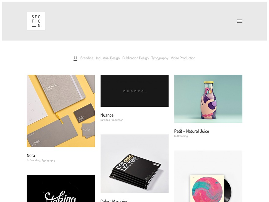 Section WordPress blog template