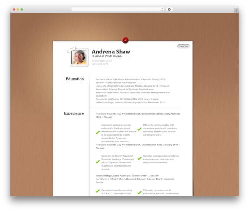 MyResume WordPress theme download - andrenashaw.com