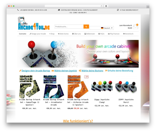 WordPress tshirtecommerce plugin - arcade4you.de