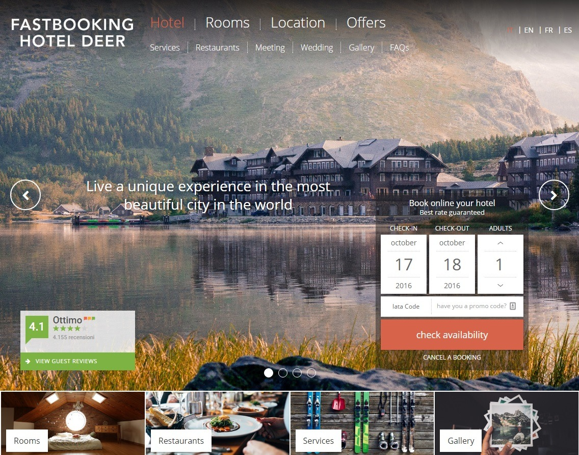 Pro Theme Deer V2 best hotel WordPress theme