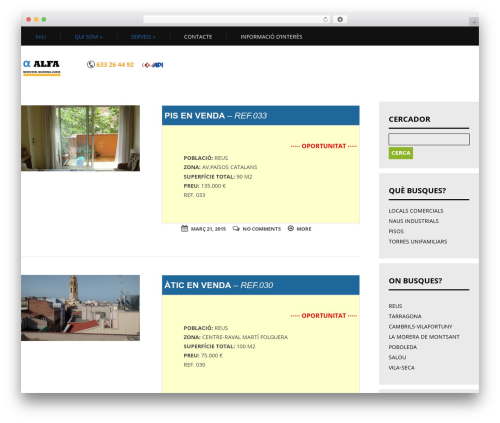 Apprise WordPress theme - alfafinques.com