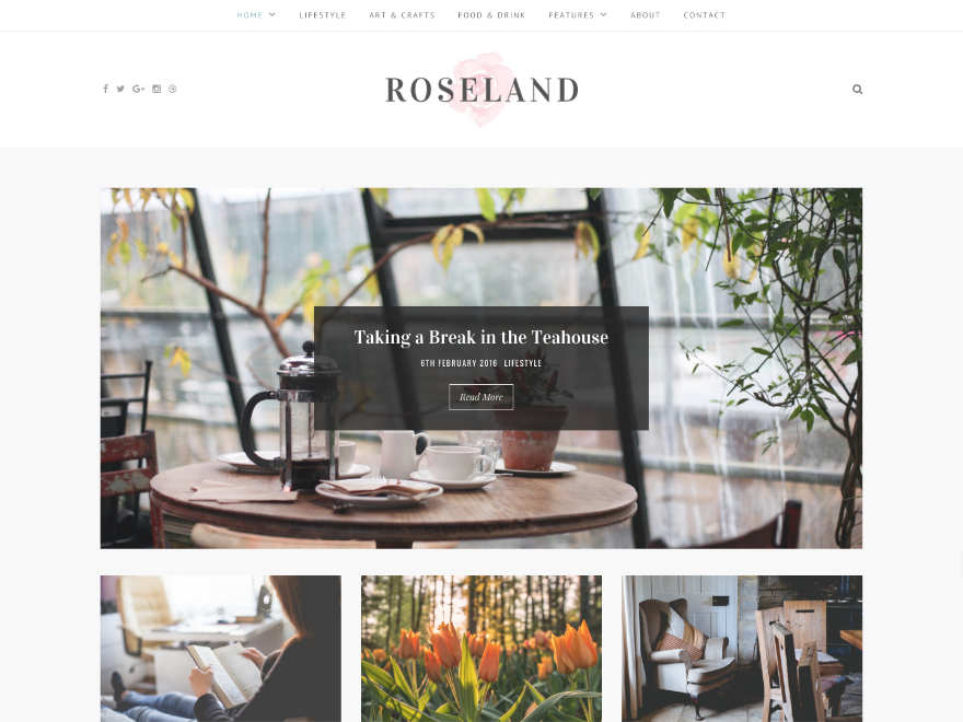 Roseland Child WordPress blog template