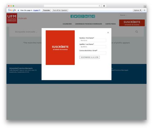 Theme WordPress Eventica - asomate.ufm.edu