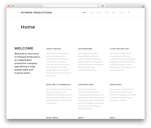 Outeredge WordPress page template - hitwaveproductions.com