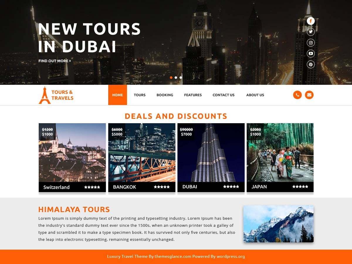 Luxury Travel WordPress template for business