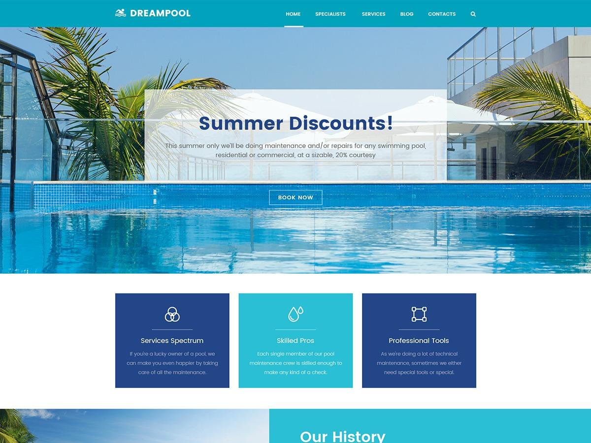 DreamPool WordPress page template