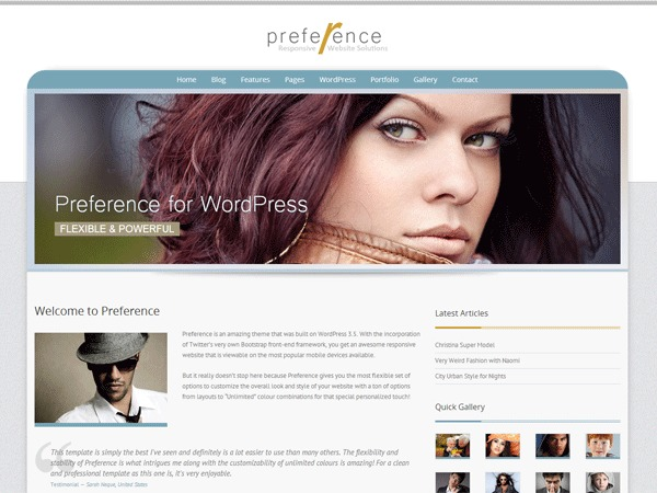 Preference Pro WordPress template for business