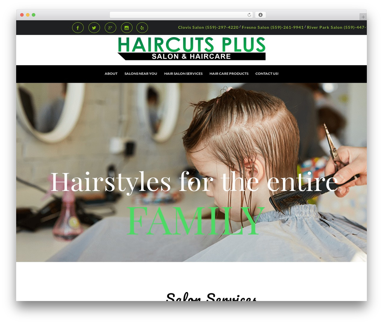 Hair & Beauty WordPress theme design - haircuts-plus.com