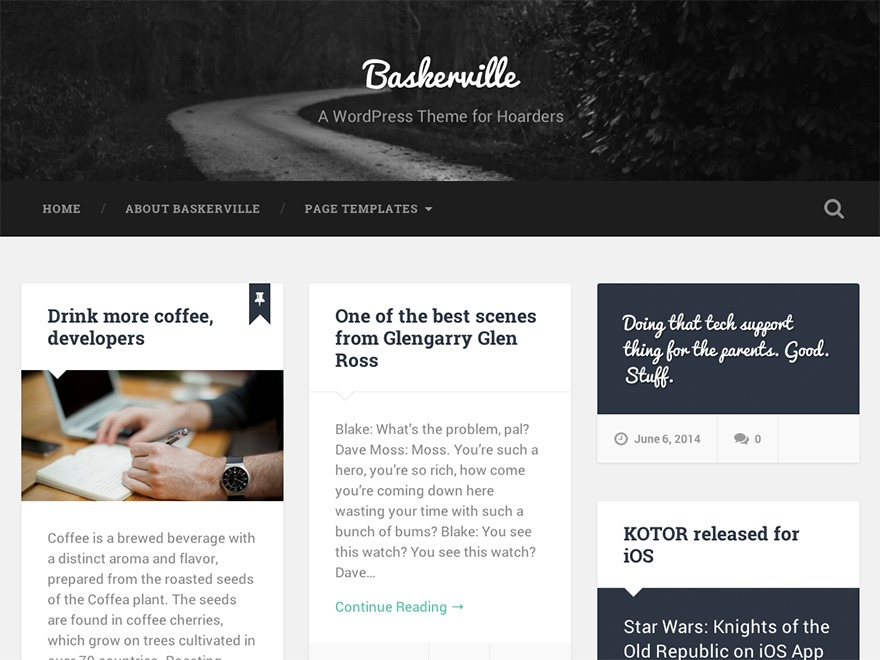 Baskerville Child WordPress website template
