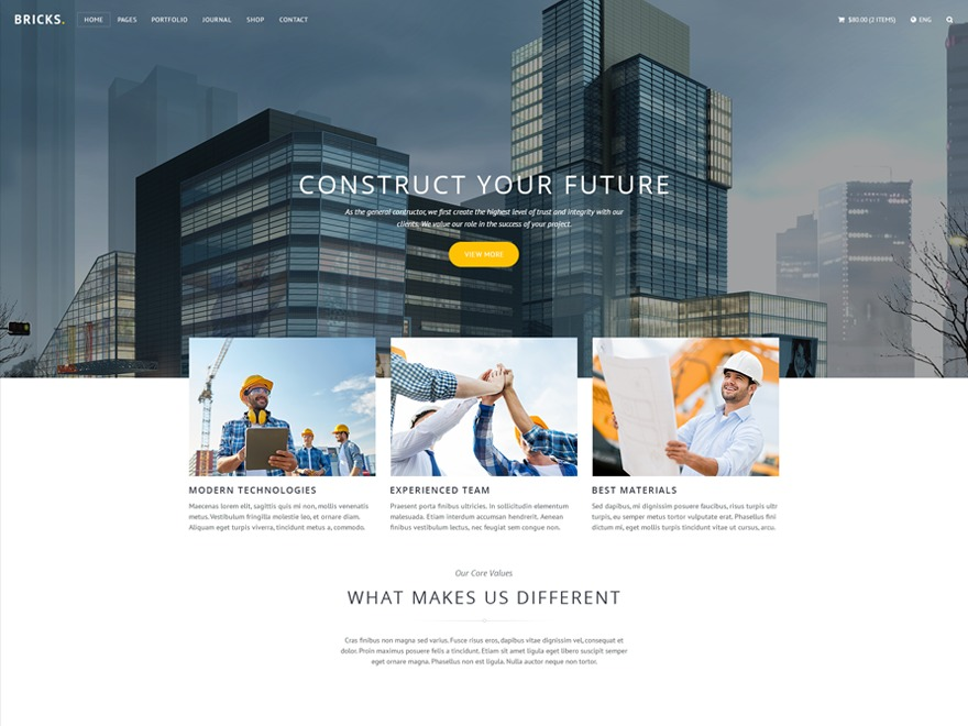 Bricks best WordPress template