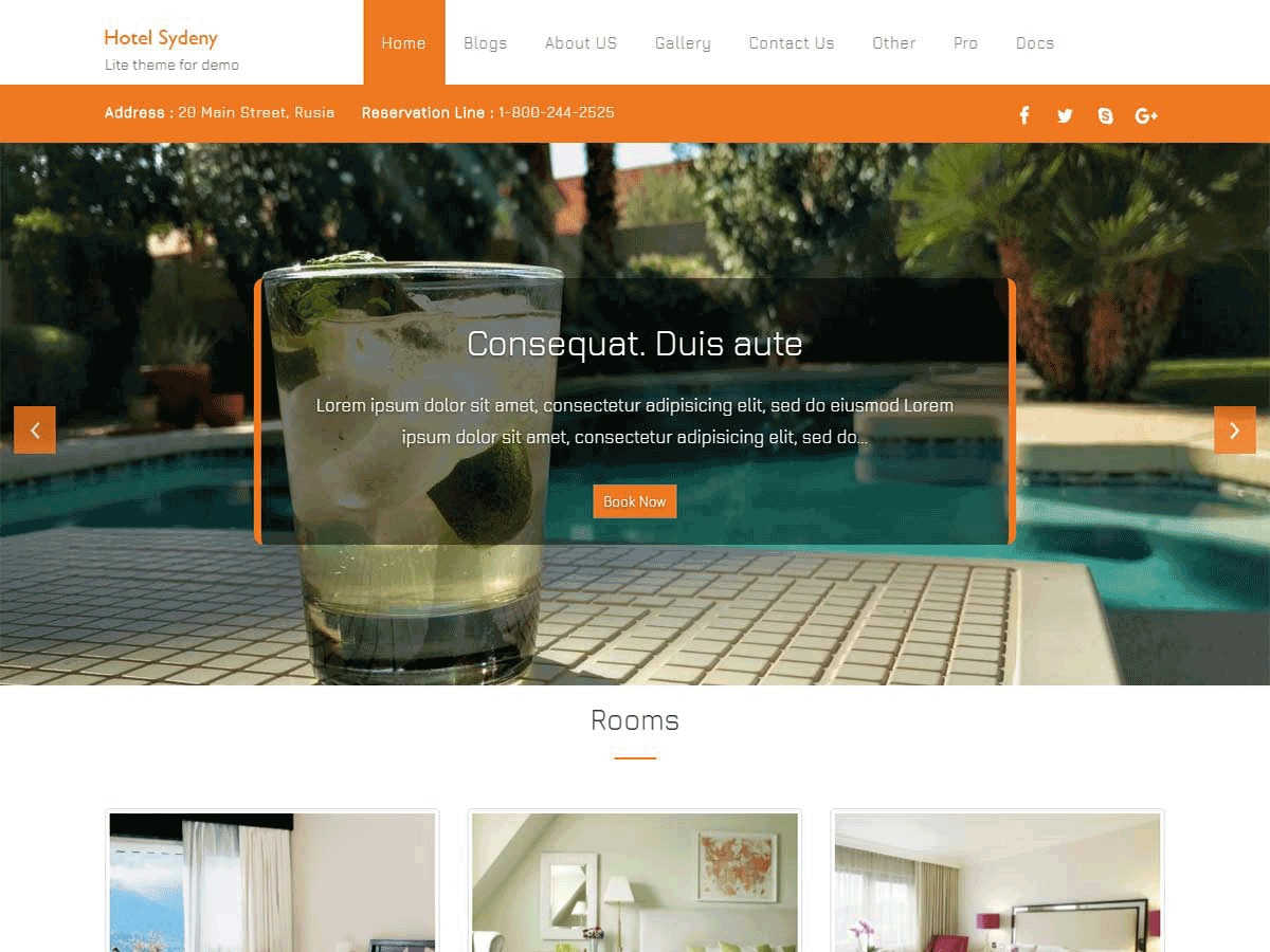 Hotel Sydney best free WordPress theme