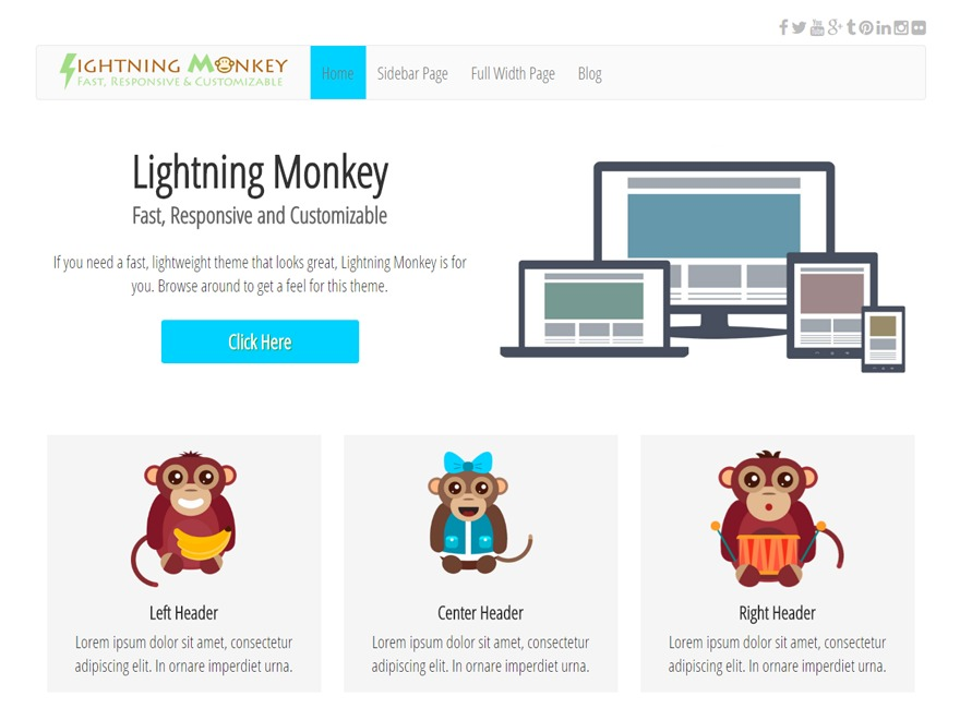 Lightning Monkey free WP theme