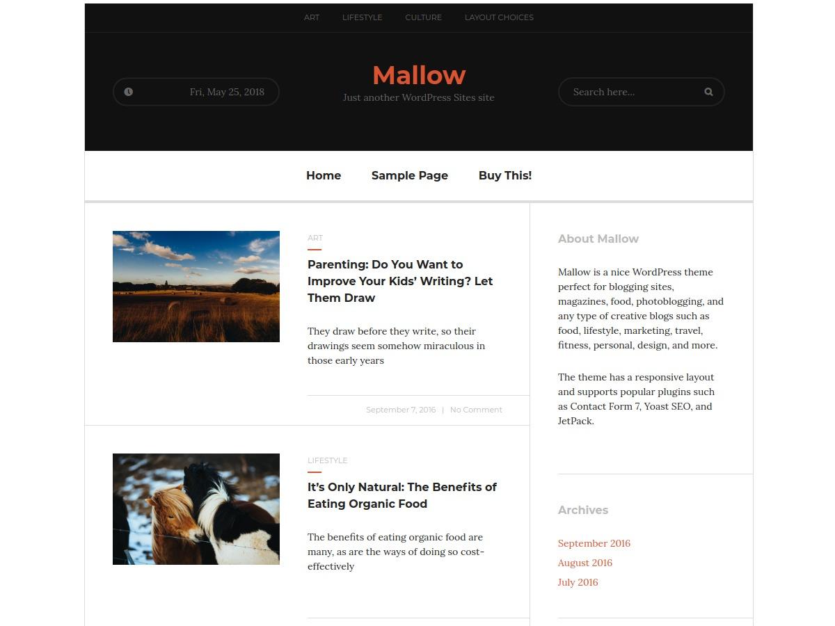 Mallow WordPress news theme