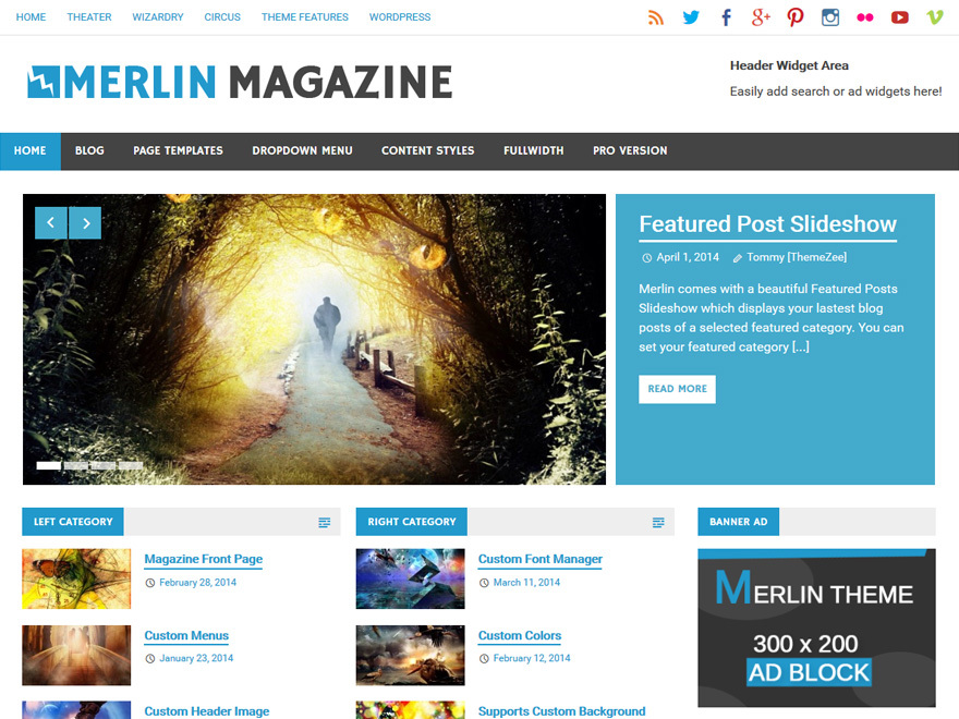Merlin Child WordPress news template