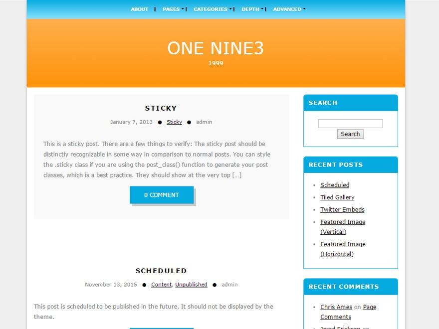 onenine3 free WP theme