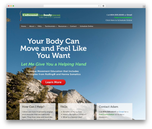 Responsive WordPress page template - unboundembodyment.com