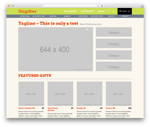 WordPress theme BLANK Theme - ungifter.com