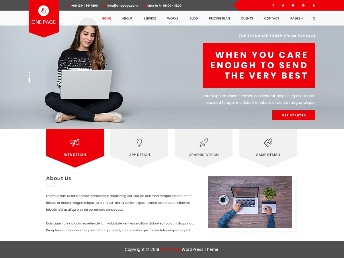 VW One Page WordPress template for business