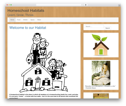 LineDay WordPress website template - homeschoolhabitats.com