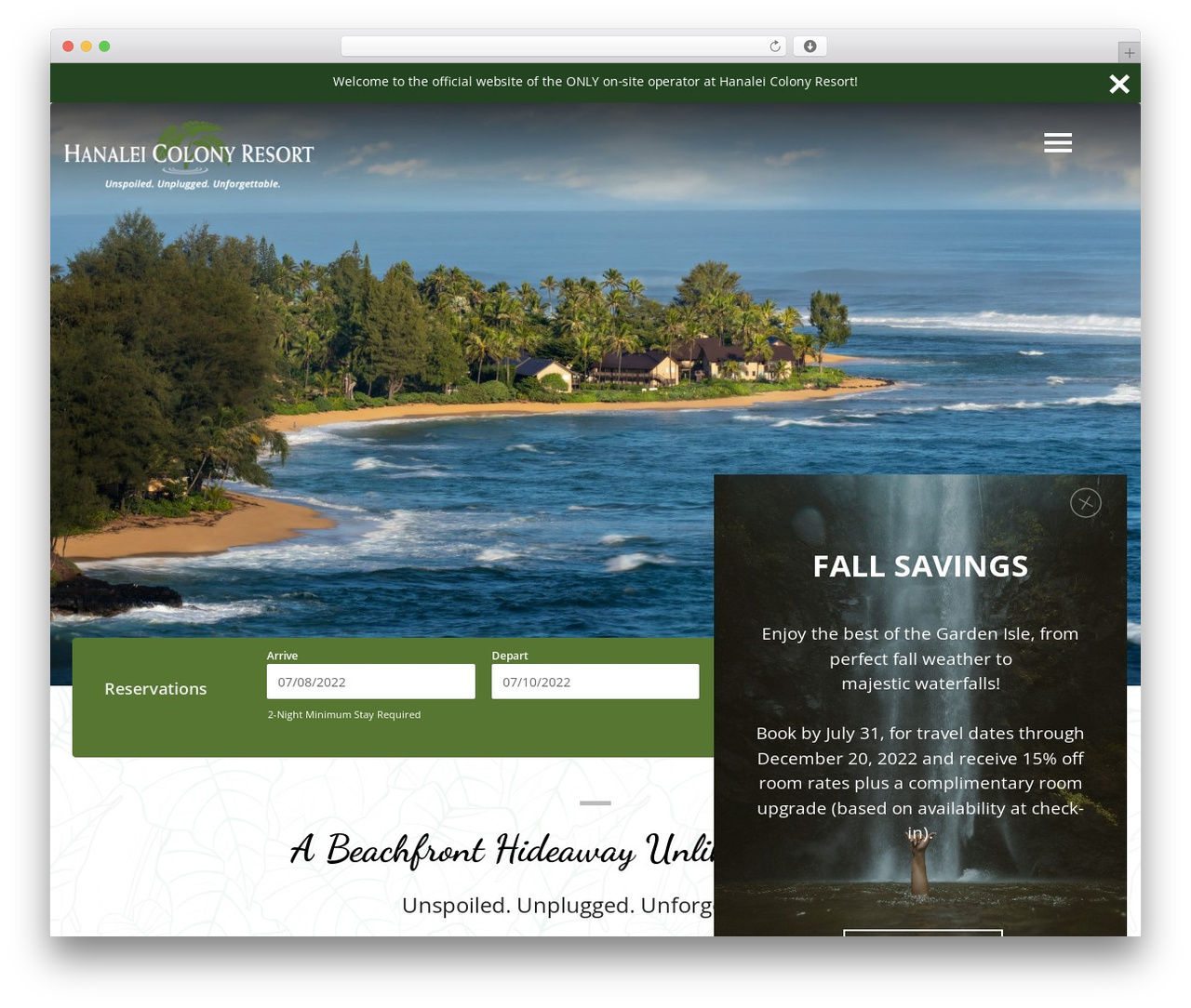 Hanalei Colony Resort WordPress page template - hcr.com