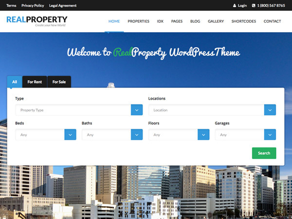 Real Property real estate WordPress theme