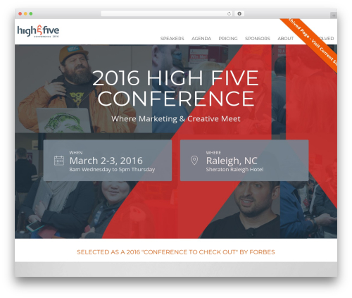 Best WordPress template Tyler - highfiveconference.com/Raleigh-2016