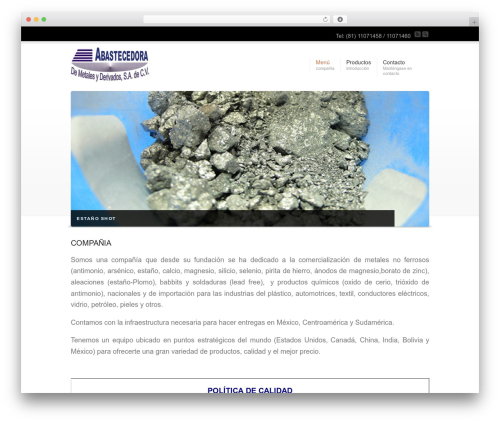 WordPress theme Corona - abametals.com