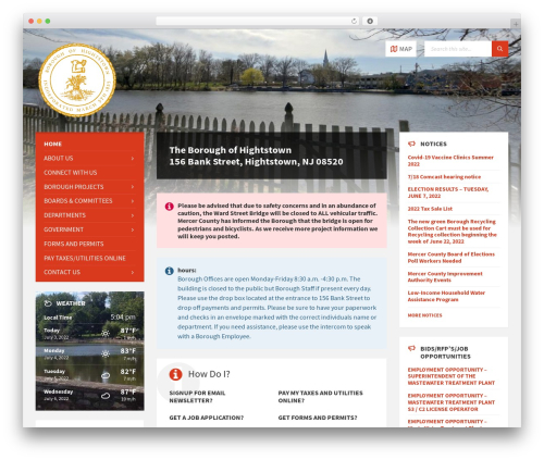 WordPress theme TownPress - hightstownborough.com