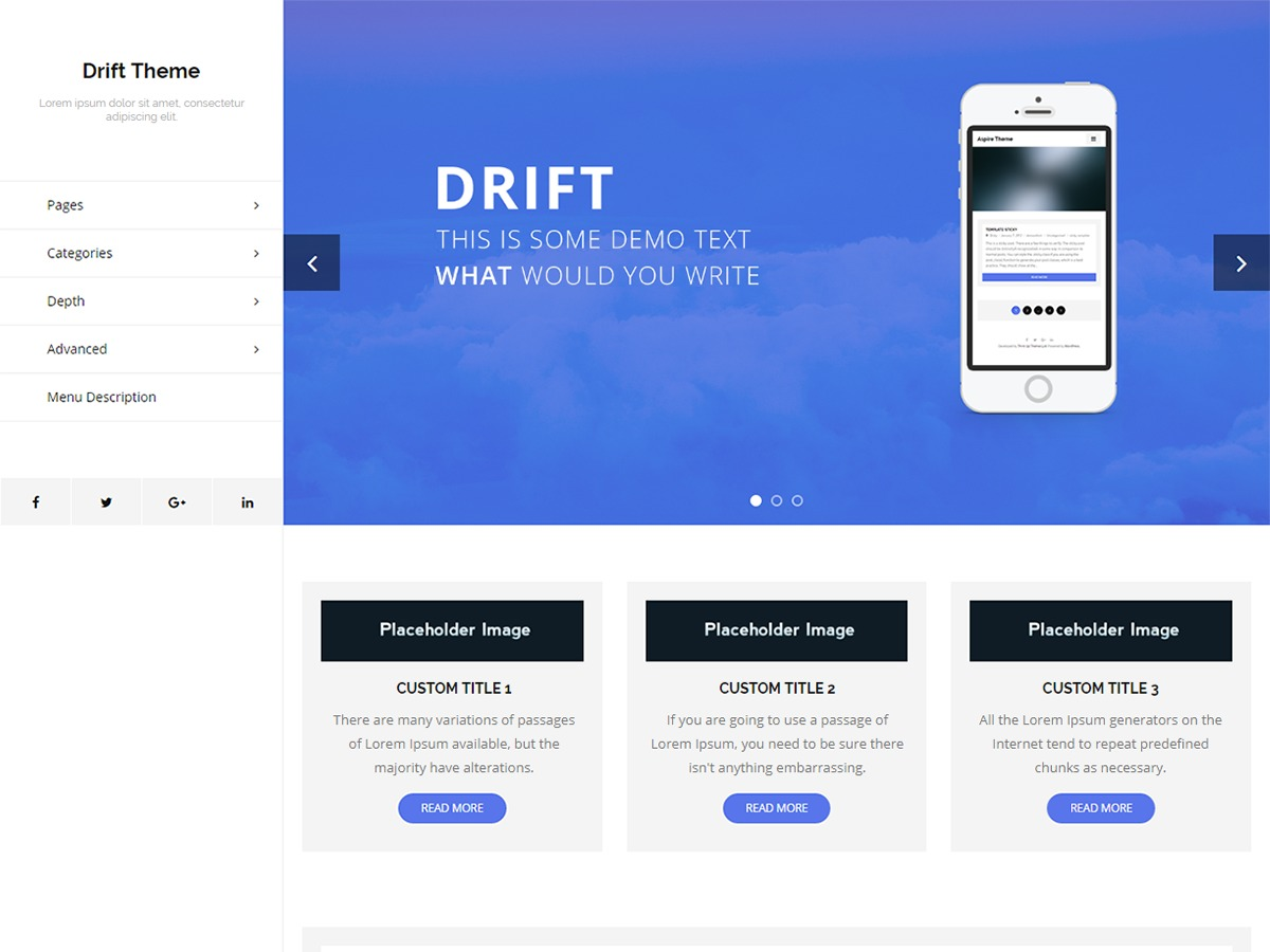 Drift free WordPress theme