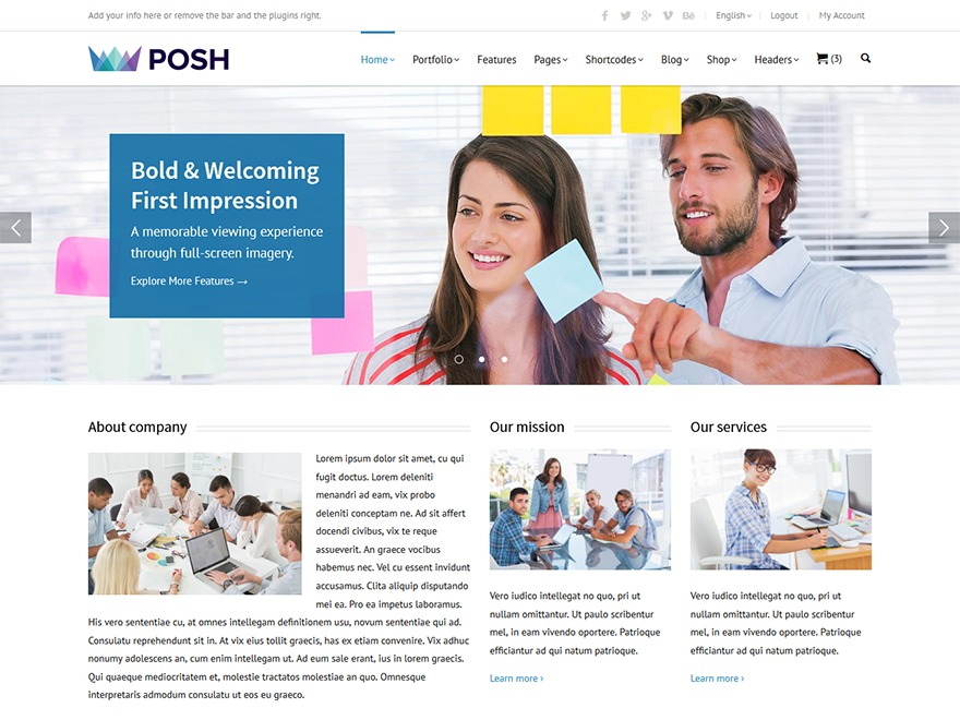 Posh WordPress page template
