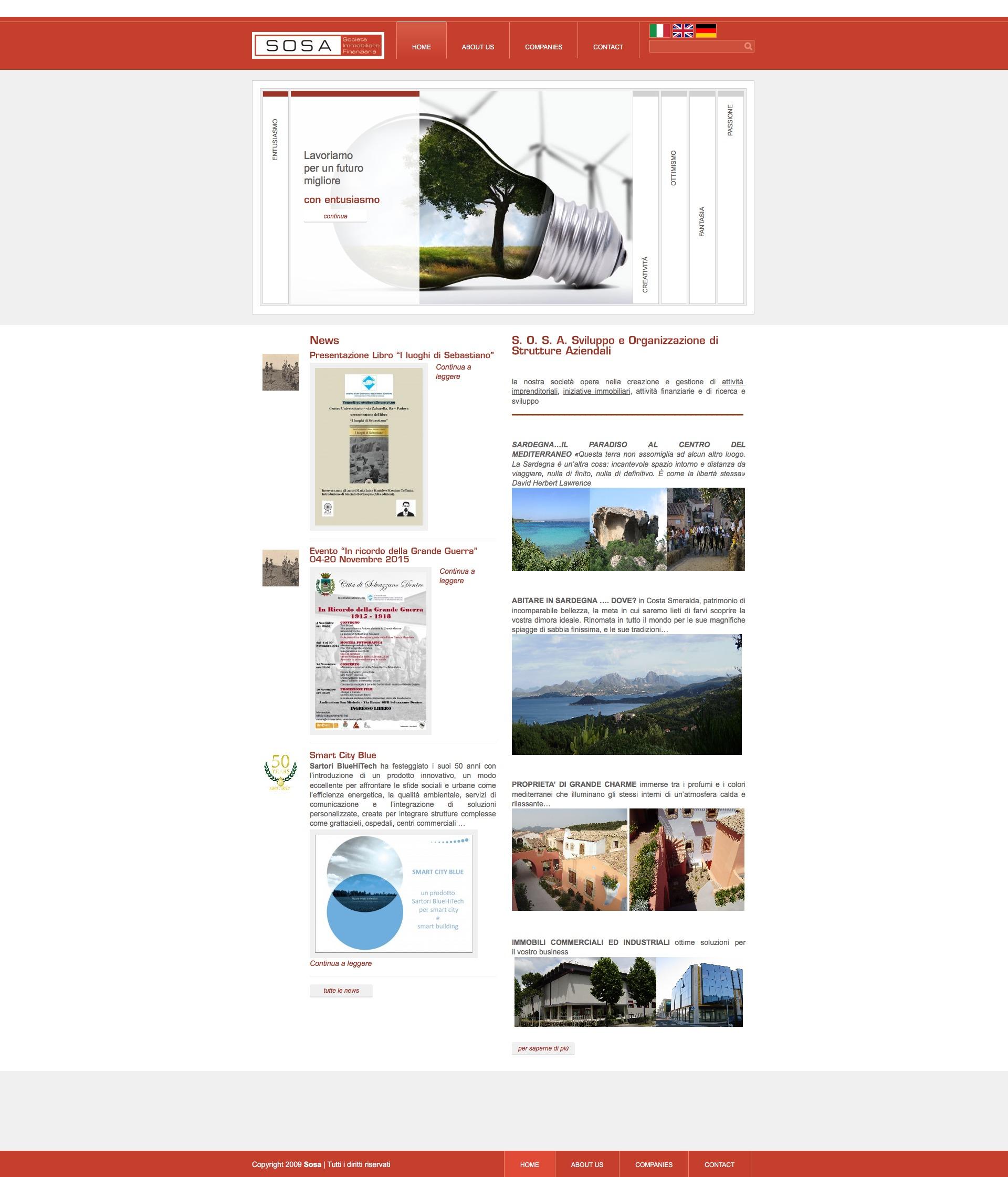 Sosa WordPress page template
